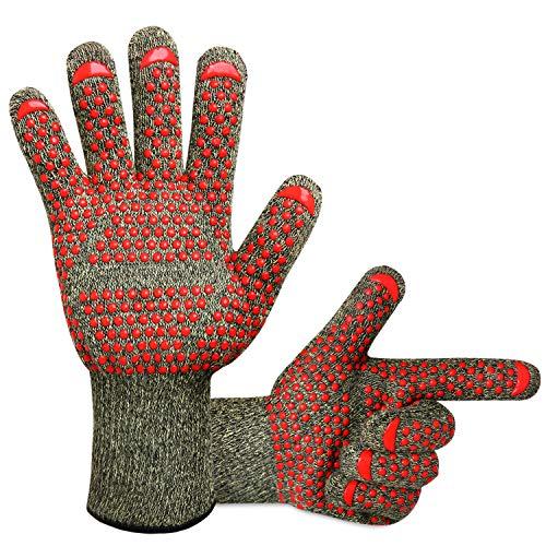KONVINIT Grillhandschuhehitzebeständigbiszu500°C, BBQ Handschuhe, Wasserdichte Innenschicht für Grill Kochen, Backen oder kaminhandschuhe, 1 Paar