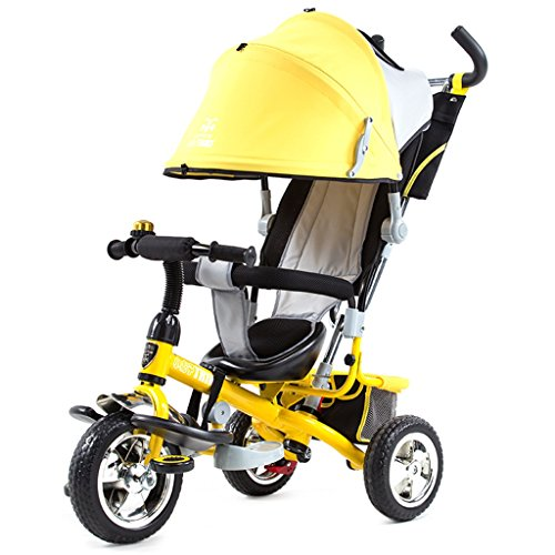 Chariot bébé Chariots de tricycle pour enfants Carrières pour bébés Bicyclettes pour enfants 3 roues, jaune BICYCLETTE