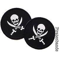 Set 2 Piraten Patches Applikationen mit Totenkopf für Jungen