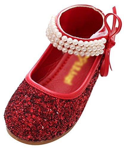 SMITHROAD Mädchen Prinzessin Schuhe Perlen Pailletten Halbschuhe Casual Party Hochzeit Ballerinas Schleife Rot Gr. - Rote Kinder Pailletten-schuhe
