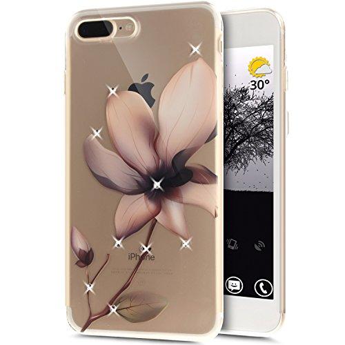 Coque iPhone 7 Plus, Étui iPhone 7 Plus, iPhone 7 Plus Case, ikasus® Coque iPhone 7 Plus Fleur peinte avec Luxe Shiny Glitter Strass Cristal Brillant Bling Diamant Housse Transparent TPU Silicone Étui Fleur de magnolia