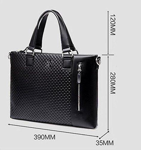Männer Geschäft Aktenkoffer 14-Zoll-Computer Tasche Muster Handtasche Black