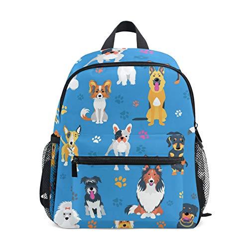 DOSHINE Kinder Kleinkind Rucksack, süße Hunde Tierpfotenabdruck-Muster, für Kinder Jungen und Mädchen