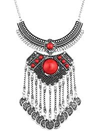 The Luxor Red Statement Oxidized Silver Afghani Necklace For Women (NK-2044)