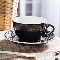 Syhao Continental smalti colori Tazza da caffè il complessivo boccola ceramica Professional-Flower300Ml,Nero