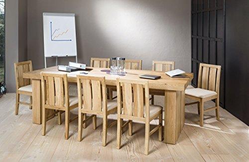 """Massivholztisch """"Edelweiß"""" in Farbe """"aged grey"""" + 8 Stühle (Niedriglehner, Bild 6) aus massivem Eichenholz, 250 x 100cm, Made in Switzerland, MESSEPREIS, NUR 1 SET VERFÜGBAR"""