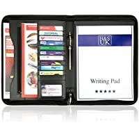 H&S® A4 Zipped Conference Folder Business Faux Leather Document Case Bag Portfolio