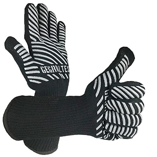 Gegrilltes-Barbacoa resistente al calor Guantes en Juego de 2/1par de guantes, Negro-Olla...