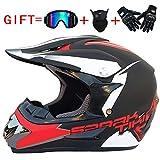 YWLG Off-Road Motorrad Racing Helm Gloss Full Face Dämpfung Durable Motorsport Helm Mit Brille Maske Handschuh Erwachsene Unisex,D-M54-55cm