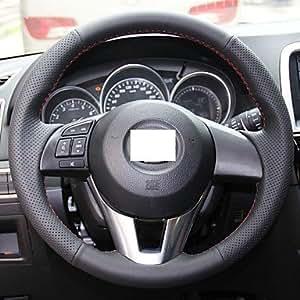 Black Genuine Leather Steering Wheel Cover for 2012 2013 Mazda CX-5 CX5 Mazda Atenza 2014 Mazda 3
