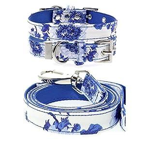 UrbanPup-Blue-Floral-Bouquet-Fabric-Collar-Lead-Set