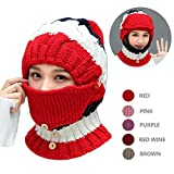 NEEDOON 2018 NEWEST Winter Scarf Hats Mask Set for Women, Knitted Ear Muffs Neck Warmer with Detachable Mask and Slouchy Beanie Pom Pom for Girls Fashion Beauty