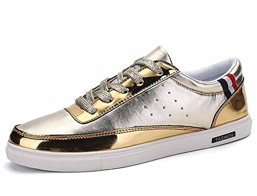 Hommes Casual Chaussures Plates Nouvelle Mode Chaussures De Skateboard Lumière Chaussures De Marche Or Argent