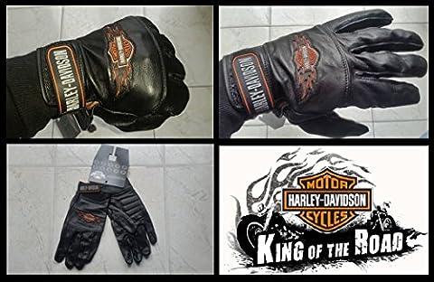 Gants cuir Harley-Davidson B & S Flames Homme Biker Moto Custom idée cadeau noir - size L