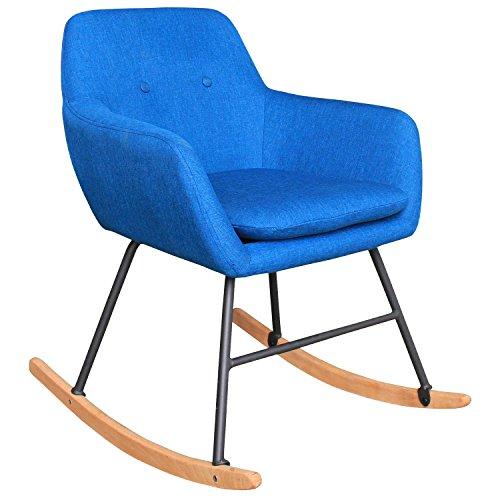 HENGMEI 61 x 76 x 79 cm Schaukelstühle Blau Relaxstuhl- Schaukelsessel Schwingstuhl für Wohnzimmer, Esszimmer, Balkon, Schlafzimmer, Garten und Terrasse (Typ B, Blau)