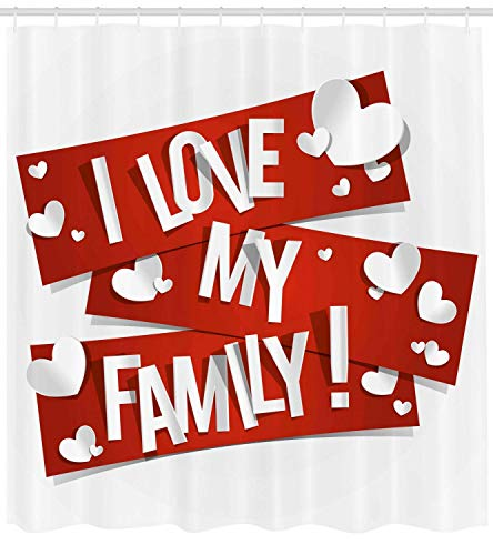 Presock Family Duschvorhang, Red Banners with Family Love Message and White Hearts Passionate Illustration, Fabric Bathroom Decor Set with Hooks, 60 x 72Inch Extra Wide, Orange White (Tmnt Duschvorhang)