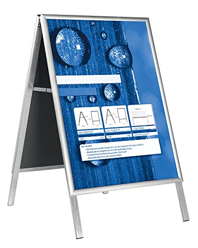 Kundenstopper/Plakataufsteller 50 cm x 70 cm (DIN B2) aus Aluminium fertig montiert inkl. 2 Antireflexschutzfolien