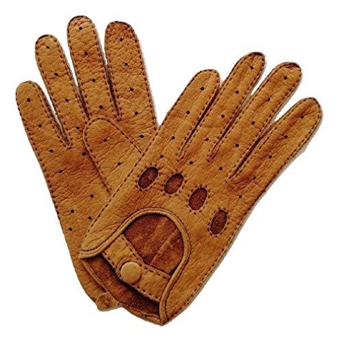 Weikert-Handschuhe Autohandschuhe aus echtem Peccary Leder, Unisex (7,5, Natur) Echt-leder-handschuh, Handschuhe