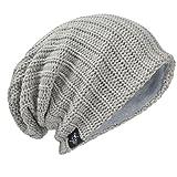 HISSHE Uomini Oversize Beanie Slouch Skull Knit Grande Larghi Berretto da Sci Cappello B08 Ribbed-Pale L