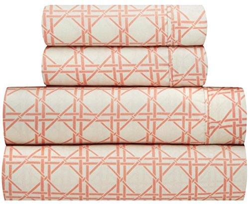 Waverly Traditions Kent Crossing Orange Creme Geometrische-Gitter 4rauscheiben. Bed Sheet Set Queen Orange -