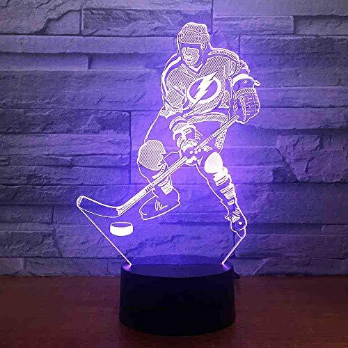 RJGOPL ice Hockey Game 3D 7 Farbe Lampe Visuelle Led Nachtlichter Für Kinder Touch Usb Tabelle