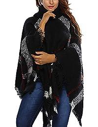 JLTPH Poncho Pull Cape Laine Femme Col Roulé Mélange de Laine Tricot Tartan  Blanket Châle Chaud dc3775d378b