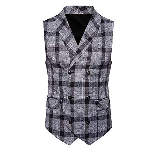Knopf beiläufige Druck ärmellose Jacke Mantel britische Anzug Weste Bluse (XXL, Schwarz) ()