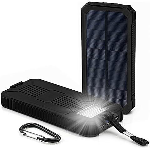 RDT 20000mAh Cargador Portátil de Panel Solar Impermeable Power Bank Batería Externa con 2 LED lámparas para Smartphones, Tables y otros Dispositivos