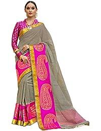 Pisara Women Banarasi Cotton Silk Saree With Blouse Piece,Grey & Pink Sari