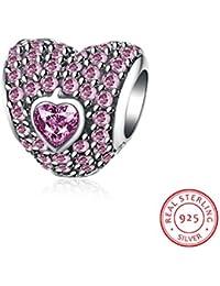 """HMILYDYK - Abalorio con forma de corazón """"Te Amo Para Siempre"""" con cristales de circonita y plata de ley 925 para pulseras de Pandora."""