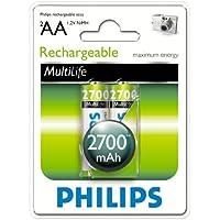 Philips R6B2A270 Batterie rechargeable pour Appareil photo 2700mAh AA 2 pièces