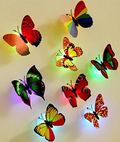 Hunpta 10 Stück Wand-Sticker Schmetterling LED Lichter Aufkleber 3D Haus Wanddekoration (Zufällige)
