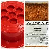 Gilde Ingolstadt - Set Cevapcici Presse + Cevapcici-Gewürzpräparat 100g. Cevapcici Gewürz 8g zugeben pro 1 Kg Fleisch, reicht bis zu 12,5 Kg