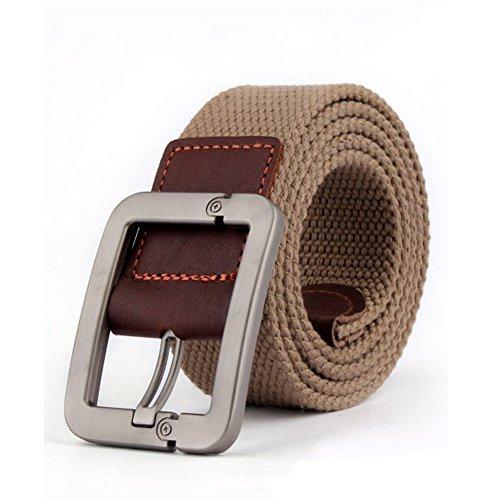 Forepin® Men's Webbing Belt Stile Casuale Cintura Canvas Monili Registrabili Vita Web Cintura conFibbia Kirsite e 9 Buche a Nastro - Cintura Lunghezza 125 cm (Deep