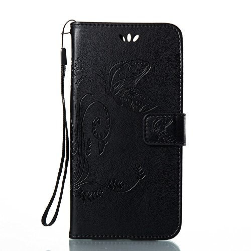 EKINHUI Case Cover Horizontale Folio Flip Stand Muster PU Leder Geldbörse Tasche Tasche mit geprägten Blumen & Lanyard & Card Slots für Huawei Hornor V9 ( Color : Gray ) Black