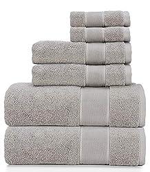 Ralph Lauren Sanders Handtuch-Set, Zinngrau, 2 Badetücher, 2 Handtücher, 2 Waschlappen, 6 Stück