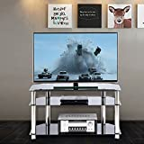 RFIVER Black Tempered Glass TV Stand Suit for LED, LCD, OLED and Plasma Flat Screen TVs up to 50-Inch,Black Glass and Chrome tube TS1001