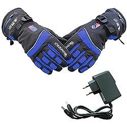 PROKTH Gants Chauffants avec Batterie pour Hommes et Femmes Gant Chauffant d'hiver pour Moto, Ski, Alpinisme, vélo, VTT, Camping, pêche Bleu-M 1set