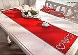 Tischläufer Weihnachten Country Cottage Chic mit Ornament Herzen in weiß auf Filz in rot LxB 140x30 cm - Tischdekoration Landhaus - Tischdecke mit Herz Weihnachtsdeko Typ349