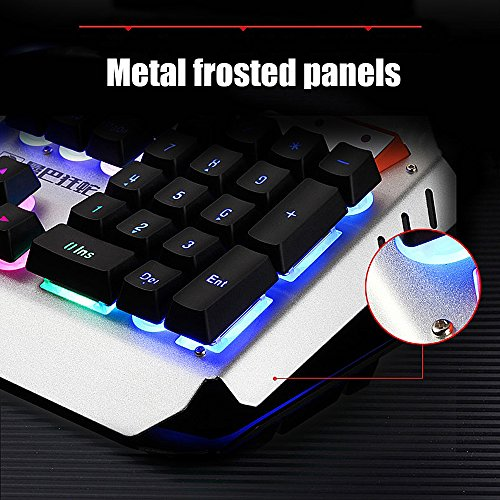 Normia Rita Mamba Mechanical Touch Keyboard and Mouse Combo Rainbow Backlight Wired Keyboard Gaming Internet Cafes LOL – Silver Black - 4