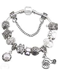 c25234bdbbc5 QWERST Bracelet Brazaletes Pulseras Colgante Bicicleta Beads Chica Charm Bracelet  para Mujeres Joyas