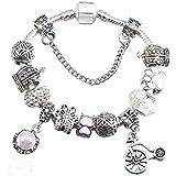 QWERST Bracelet Armbänder Fahrrad Anhänger Armbänder Perlen Mädchen Armband Für Frauen Schmuck, 19 cm