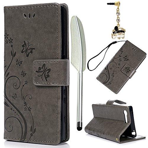 YOKIRIN Sony Xperia X Compact Lederhülle Hülle Case für Sony Xperia XCompact Flipcase Tasche Handyhülle Etui Schmetterling Muster PU Leder Schutzhülle Kartenfächer Magnetverschluss Cover Grau