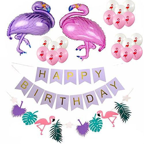 F.Lashes Alles Gute zum Geburtstag Girlande Flamingo Luftballon Deko Party Zubehör Kinder Geburtstag Set Stoff Banner Ballons Dekoration (1920er Jahre Geburtstag-party)