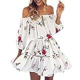 VJGOAL Womens Mini Dress, éTé Sexy Off éPaule Floral Print Sun Dress Party Plage Courte Mini Slash Cou DéContracté Mince Robe (FR-52/CN-L, Blanc)