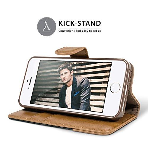 Handyhülle iPhone 5S Hülle, BEZ® iPhone SE 5 5S Hülle, Handyhüllen Handytasche Schutzhülle Tasche Flip Case [Stoff Bezug und PU leder] mit Kreditkartenhaltern, Standfunktion - Grau Schwarz