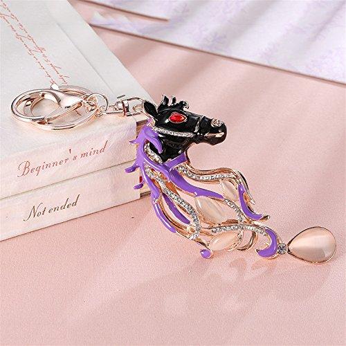 NawaZ Funny und Fashion Key Dekoration Strass Pferd Anhänger Metall Schlüsselanhänger Geldbörse Handtasche Auto Charme Keychain Geschenk (lila)