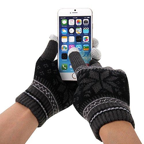 wortek Touchscreen Handschuhe mit Flockenmuster in Schwarz in der Größe M - L für alle Handys, Smartphones und Tablets - Razr Motorola Fall
