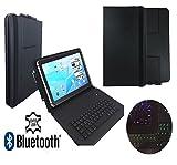 Echtleder Bluetooth Qwertz Keyboard Tasche für Blaupunkt Discovery 1000C 108C - Tastatur Hülle mit LED Tasten - 10.1 LT 2 Schwarz