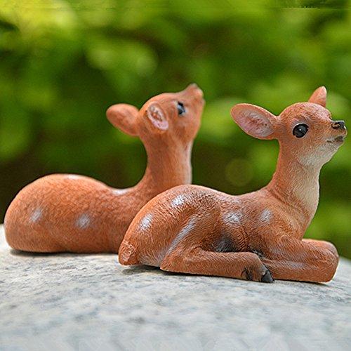 ini Kunstharz Realistische Deer Figur Statue Miniatur Garten Outdoor Garten Home Zähler Dekoration 1Stück, Left deer ()